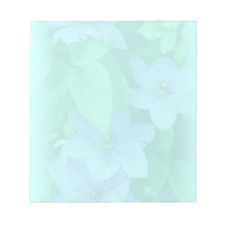 Aqua Blue Clematis-Muted floral Memo Notepads