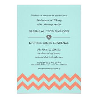 Aqua Blue & Coral Chevron Wedding Invitations