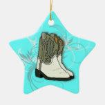 Aqua Blue Country Girl Western Boots Star Ornament