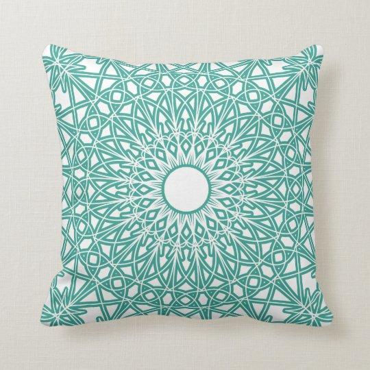 Aqua Blue Crocheted Lace Pillow