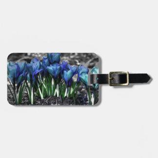 Aqua Blue Crocus Blooms Luggage Tag