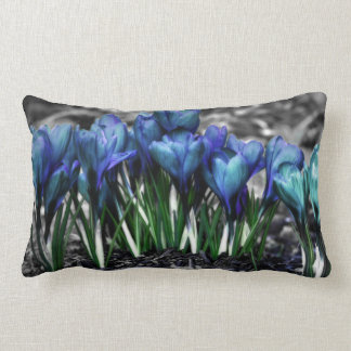 Aqua Blue Crocus Blooms Lumbar Pillow