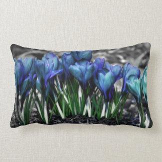 Aqua Blue Crocus Blooms Throw Pillows