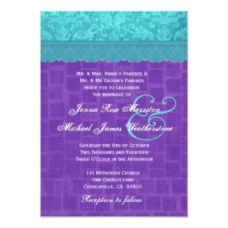 Aqua Blue Damask and Purple Wedding A004 5x7 Paper Invitation Card