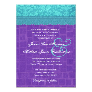 Aqua Blue Damask and Purple Wedding A004 Card