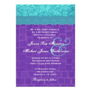 Aqua Blue Damask and Purple Wedding A004 Invitation