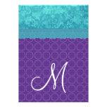 Aqua Blue Damask and Purple Wedding A05 Custom Invite