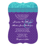 Aqua Blue Damask and Purple Wedding Template A06 Invite