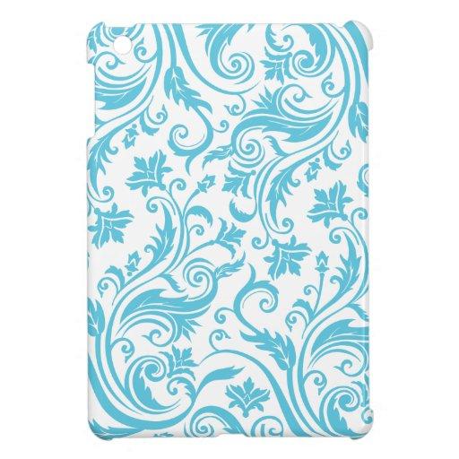 Aqua Blue Damask Cover For The iPad Mini