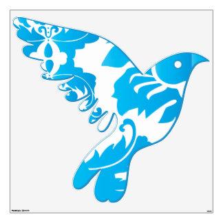 Aqua Blue Damask Flying Bird Wall Decal