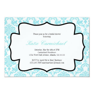 Aqua Blue Damask Invitation