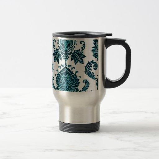 Aqua Blue Damask Mug