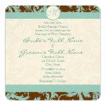 Aqua Blue Damask on Brown Wedding Invitation