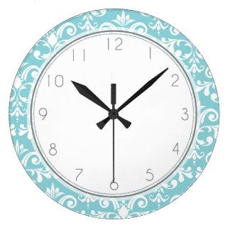 Aqua Blue Damask Pattern Pattern Large Clock