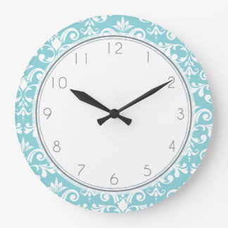 Aqua Blue Damask Pattern Pattern Wall Clocks