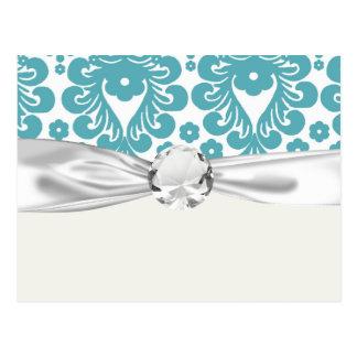 aqua blue damask pattern postcard