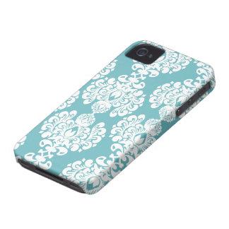 Aqua blue damask stylish pattern iphone 4 casemate iPhone 4 Case-Mate case