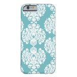 Aqua blue damask stylish pattern iPhone 6 case