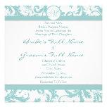 Aqua Blue Damask Swirls Wedding Invitation