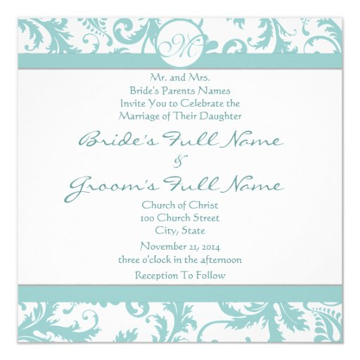 "Aqua Blue Damask Swirls Wedding Invitation 5.25"" Square Invitation Card"