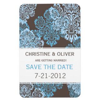 Aqua Blue Damask Wedding Magnet