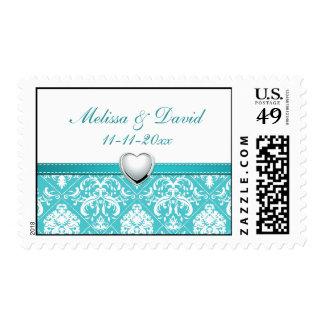 Aqua Blue Damask Wedding Postage (Bride & Groom)