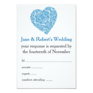 Aqua Blue Damask Wedding Stationery Card