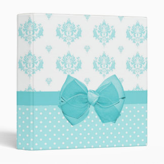 Aqua Blue Damask With Turquoise Ribbon 3 Ring Binder