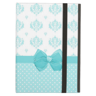 Aqua Blue Damask With Turquoise Ribbon Case For iPad Air
