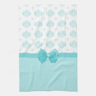 Aqua Blue Damask With Turquoise Ribbon Kitchen Towel