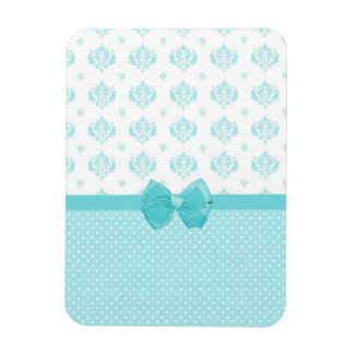 Aqua Blue Damask With Turquoise Ribbon Magnet