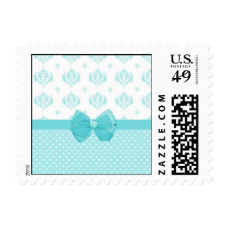 Aqua Blue Damask With Turquoise Ribbon Stamp