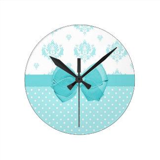 Aqua Blue Damask With Turquoise Ribbon Round Clock