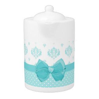 Aqua Blue Damask With Turquoise Ribbon Teapot