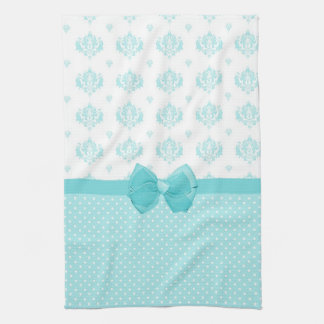 Aqua Blue Damask With Turquoise Ribbon Towel