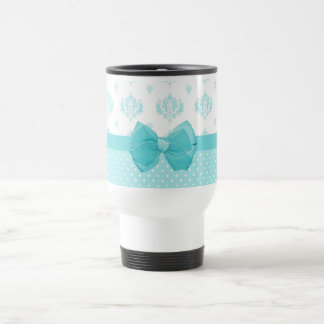 Aqua Blue Damask With Turquoise Ribbon Travel Mug