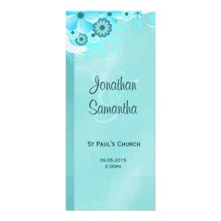 Aqua Blue Dark Teal Floral Wedding Programmes Rack Card