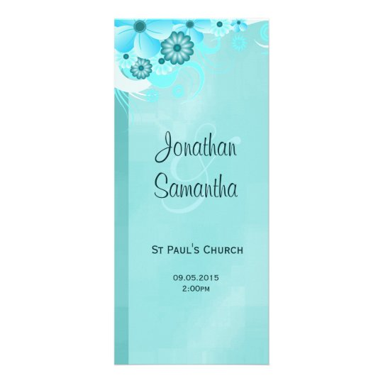 Aqua Blue Dark Teal Floral Wedding Programmes Rack Card