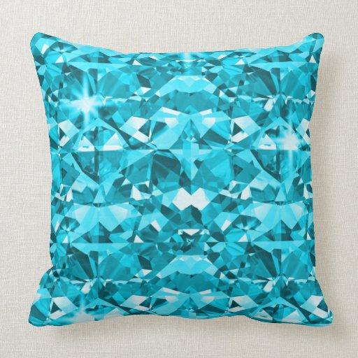 Blue And Aqua Throw Pillows : Aqua Blue Diamond Bling Pattern Throw Pillow Zazzle