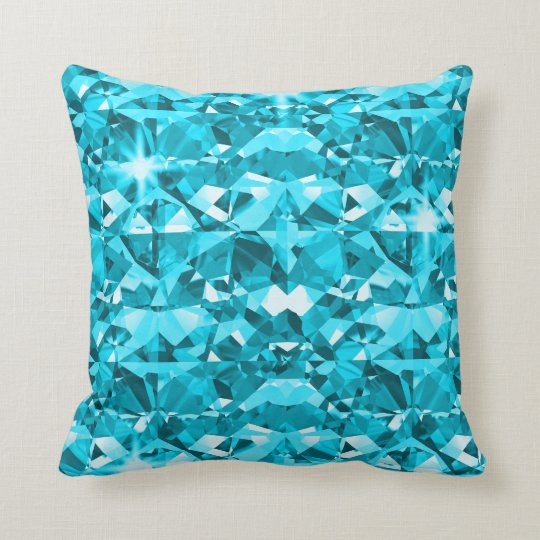 Aqua Blue Diamond Bling Pattern Throw Pillow