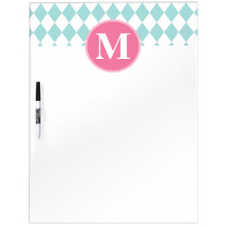 Aqua Blue Diamonds Pattern Pink Monogram Dry Erase Board