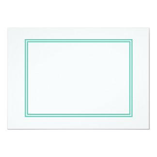 Aqua Blue Double Border on White 5x7 Paper Invitation Card