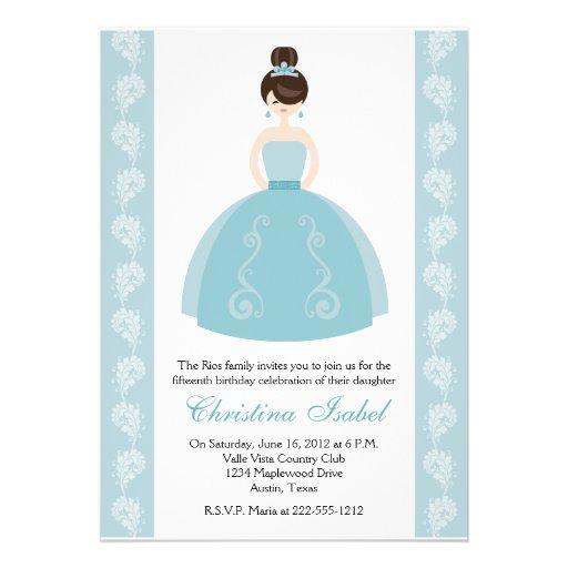 Aqua Blue Dress Brunette Quinceanera Invitations
