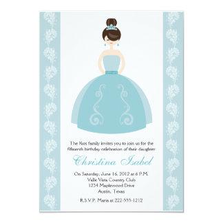 "Aqua Blue Dress Brunette Quinceanera Invitations 5"" X 7"" Invitation Card"