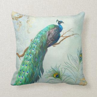 Aqua Blue Elegant Peacock Feathers Tree Branch Throw Pillow