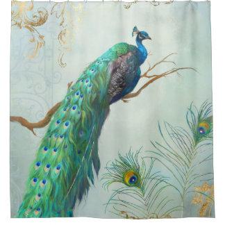 Aqua Blue Elegant Peacock n Feathers Tree Branch Shower Curtain