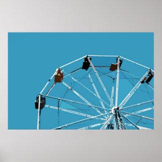 Aqua Blue Ferris Wheel Poster