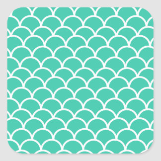 Aqua Blue Fish scale pattern Square Sticker