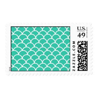 Aqua Blue Fish scale pattern Stamp