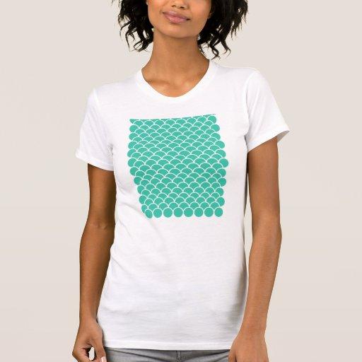 Aqua Blue Fish scale pattern Tee Shirts